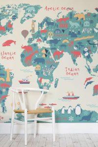 papel pintado mapa infantil